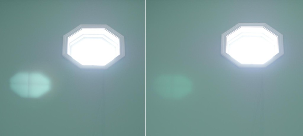 The higher the quality of the filter's coating, the less ghosting will occur from bright light sources. Left: Tiffen UV Filter / Right: Hoya UV(C) Filter