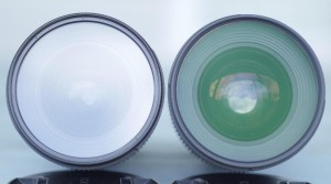 Quality filters have multi-coating, which reflects glare and gives it a purple or green tint. Left: Tiffen UV Filter Right: Hoya UV(C) Filter